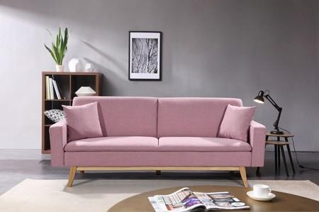 Sofá cama rosa
