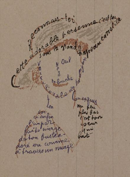 El caligrama de Guillaume Apollinaire en la Exposición Culture Chanel