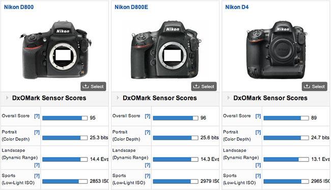 Comparativa resultados DxOMark para Nikon D800E - D800 - D4
