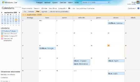Calendario de Windows Live Wave 3