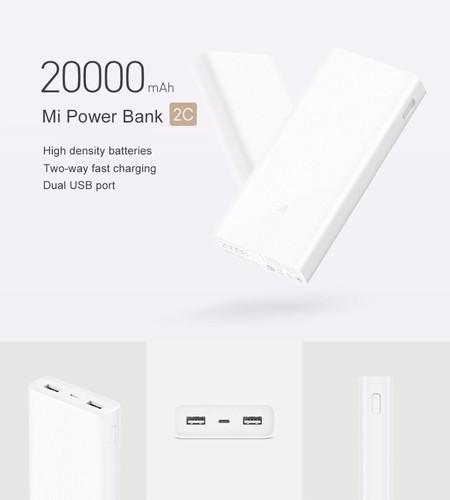 Desde España: batería externa Xiaomi Mobile Power Bank 2C, de 20.000mAh, por 23,82 euros