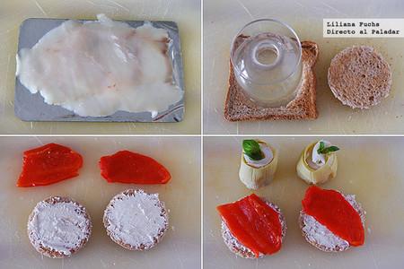 Pinchos de alcachofa, pimiento y bacalao ahumado. Receta de Semana Santa
