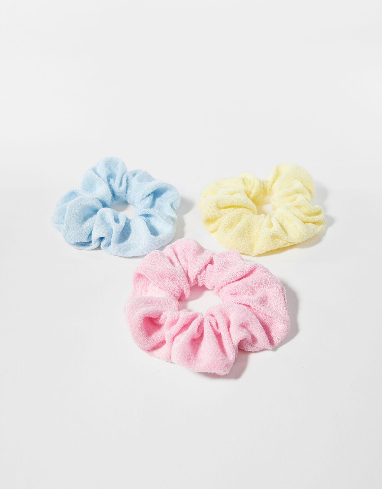 Set de 3 coleteros monocolor en tela de toalla.