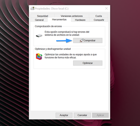 Comprobar Errores Disco Windows 10