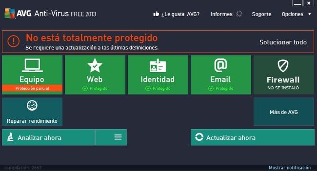 Interfaz táctil AVG 2013