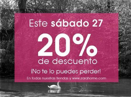 Este sábado 27 un 20% descuento en ZARA Home