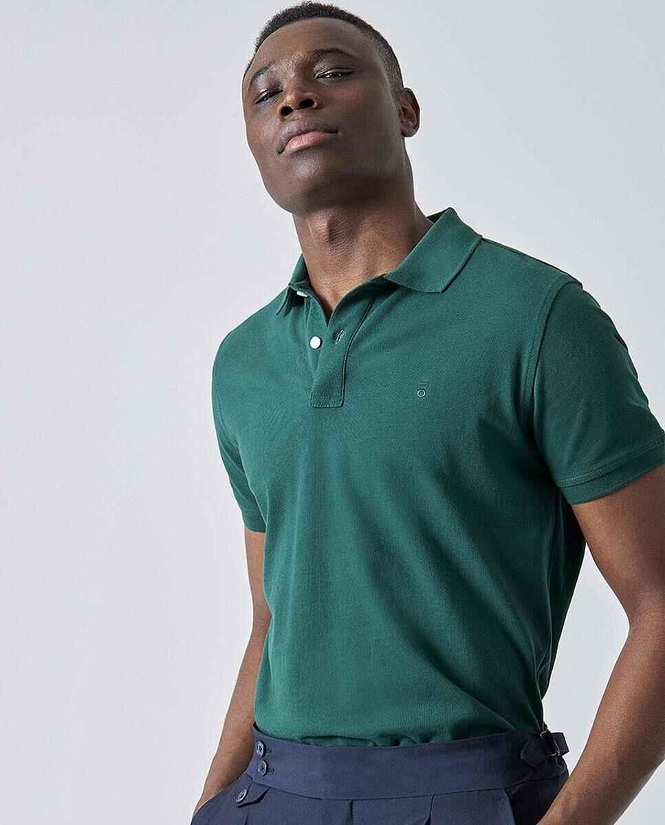 Polo de algodón de hombre en verde de manga corta de PuroEGO