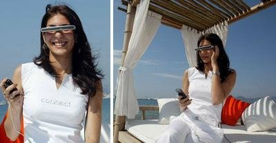Gafas para ver vídeo en una pantalla virtual