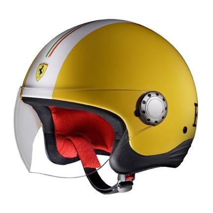Rosso Ferrari casco moto amarillo