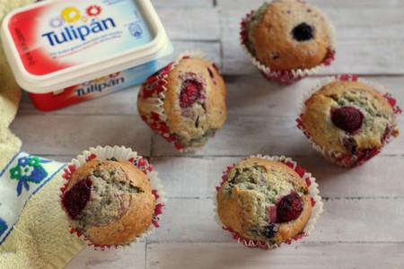 Muffins con frutas del bosque. Receta con Tulipán