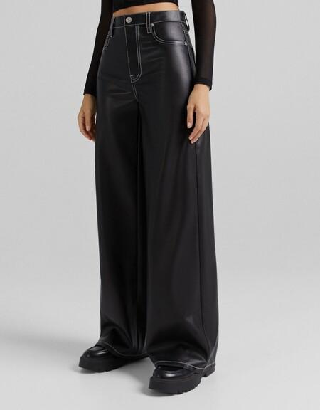 Pantalon Wide Leg Efecto Piel Contraste
