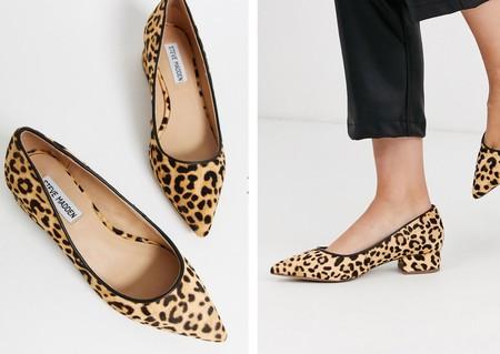 Zapatos de tacón de cuero con estampado de leopardo y puntera en punta de Steve Madden