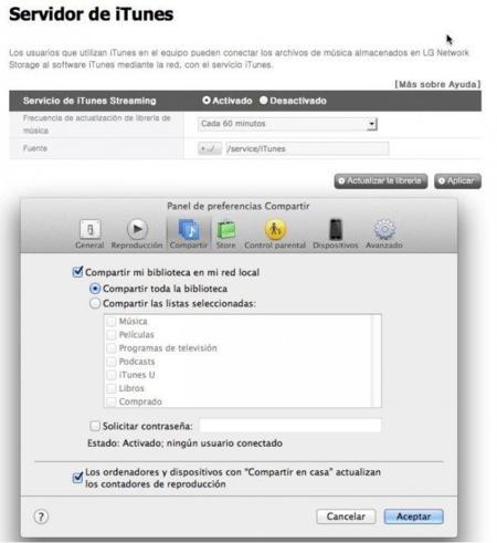 iTunes Server, otra función del NAS, que por desgracia no he conseguido hacer funcionar