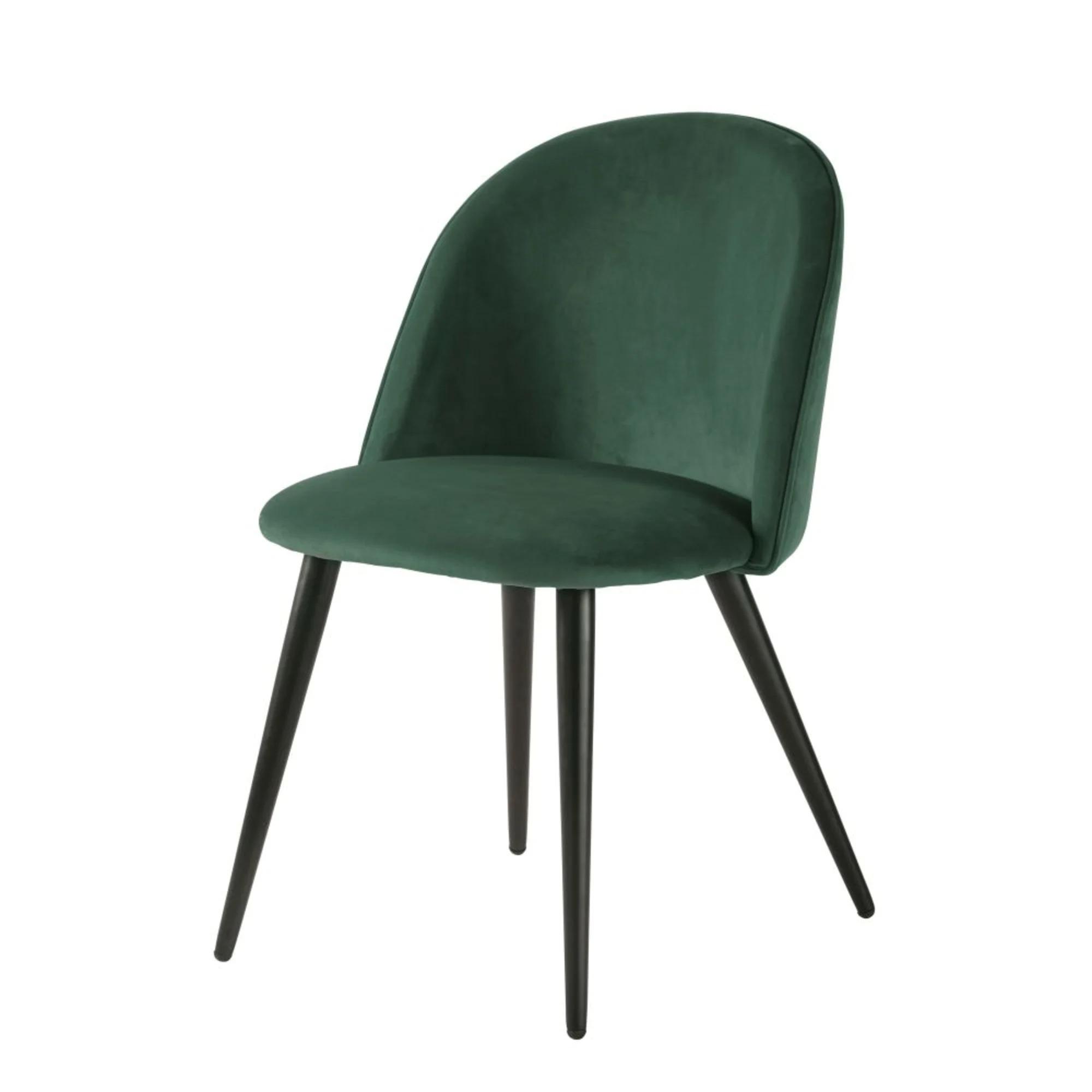 Silla vintage de terciopelo verde y metal negro Mauricette
