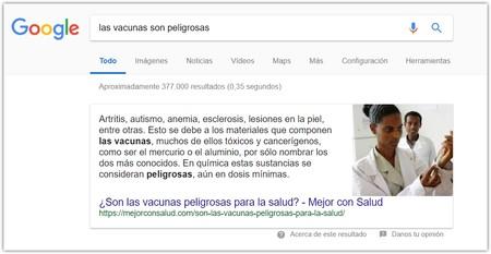 Busqueda Vacunas Peligrosas Google Destacado