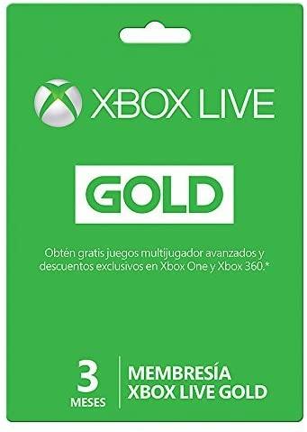 Tarjeta de Xbox Live Gold de tres meses