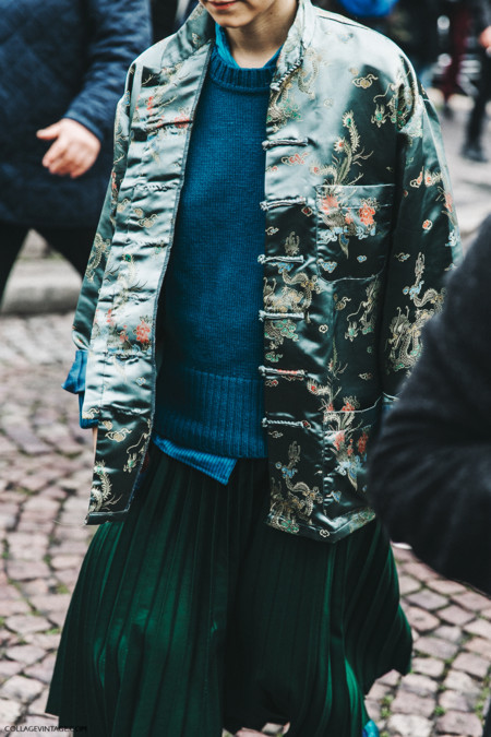 Pfw Paris Fashion Week Fall 2016 Street Style Collage Vintage Miu Miu Kimono Pleated Skirt Gucci