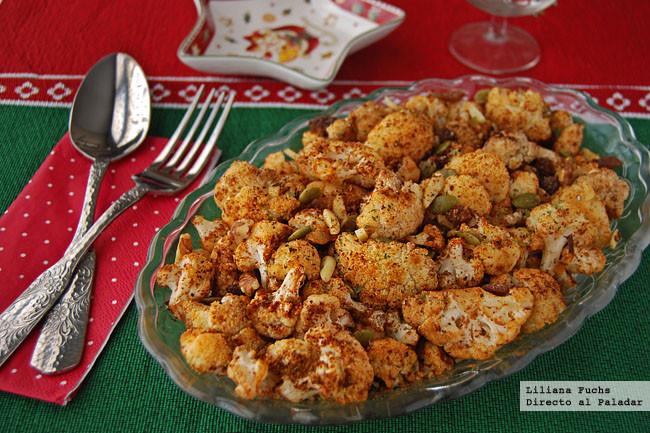 Coliflor asada al piment n con frutos secos receta de navidad - Comidas para navidad sencillas ...