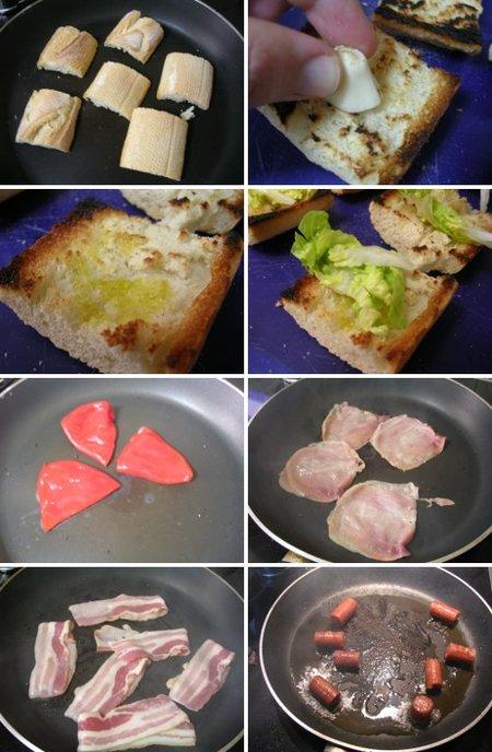 Elaboración del Pincho de chistorra, bacón, jamón y piquillo. Receta
