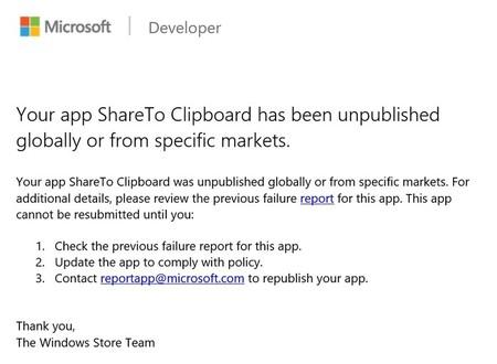 Aviso Eliminacion App Tienda Windows