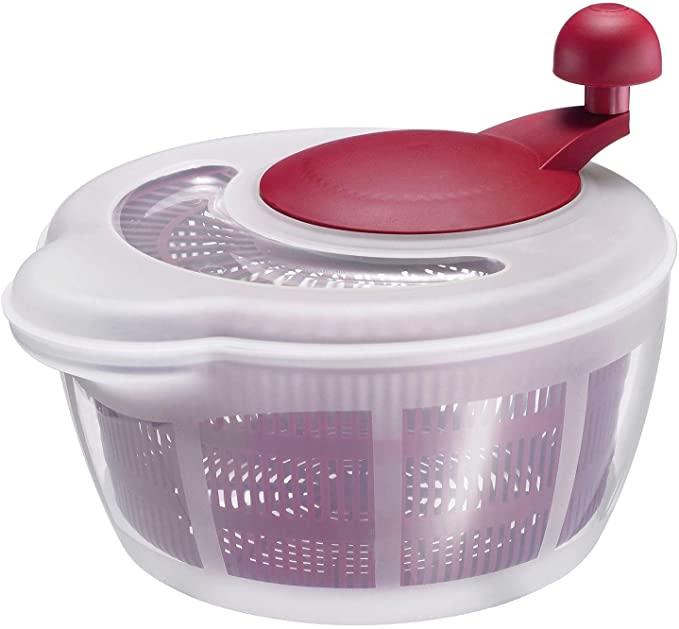 Westmark Ensaladera, Capacidad 5 litros, diámetro 26 cm, Plástico, Sin BPA, Fortuna, Color transparente/Rojo, 2432224R