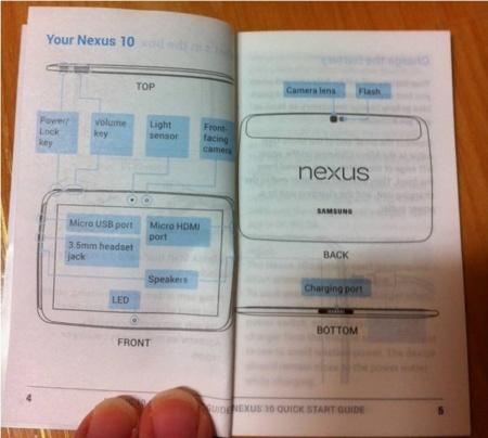Se filtran imágenes del supuesto manual de la Nexus 10 con su diseño dibujado dentro