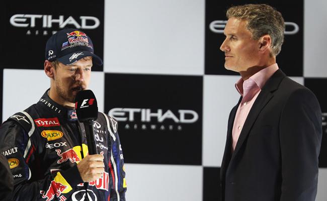 Sebastian Vettel y David Coulthard en el podio de Abu Dabi 2012