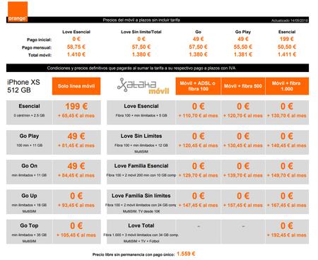 Precios A Plazos Iphone Xs 512 Gb Con Tarifas Orange