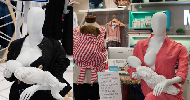 Colocan maniquíes amamantando en centros comerciales para apoyar la lactancia materna