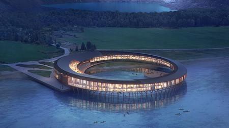 Este hotel con forma de anillo estará en un fiordo noruego y nos dejará disfrutar las auroras boreales como nunca antes