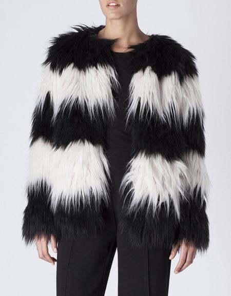 Clon Gucci Pre Fall Abrigo Fluffy Blanco Negro