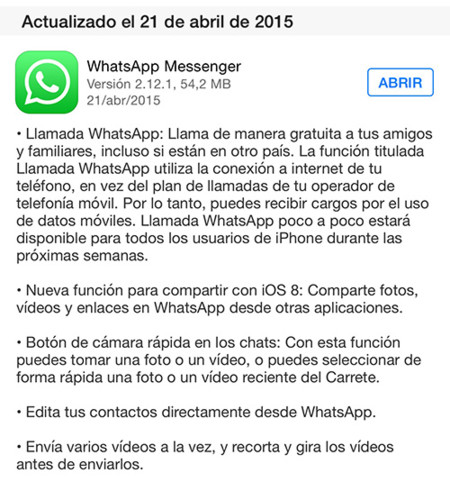 Whatsapp Llamadas Changelog
