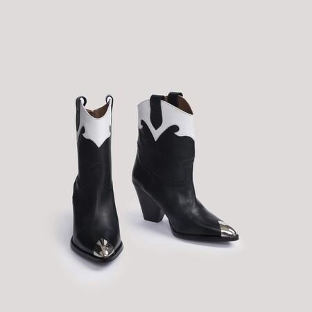 Bota cowboy con tacón bicolor blanco y negro - MURIEL