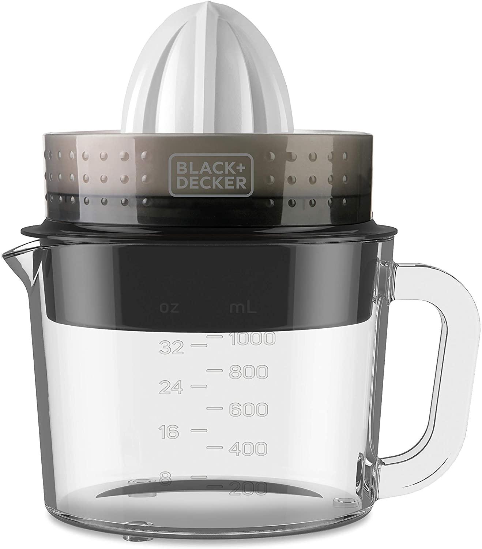 Black+Decker BXCJ30E Manual Juicer, 30 W, 1 Liter, Glass, White