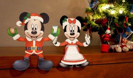 Cajitas de Mickey Mouse y Minnie para la mesa de Navidad