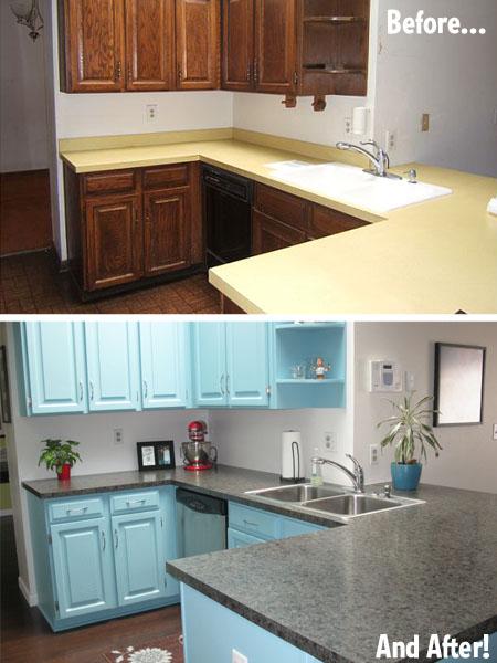 Antes y despu s una cocina pintada de azul - Pared cocina pintada ...