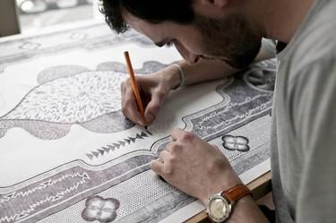 Tapiz dibujado a mano con un boli Bic