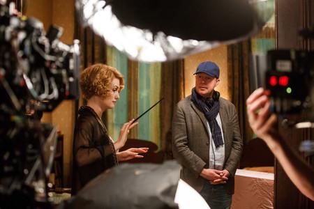David Yates y Alison Sudol durante el rodaje