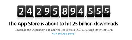 Apple celebrará su descarga número 25 mil millones con un premio de 10,000 dólares