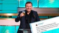 Lo más ácido de Ricky Gervais para la entrega de los Globos de Oro se leerá en Twitter