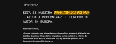 La Wikipedia se apaga y PornHub, Twitch y Reddit protestan contra la nueva directiva de copyright europea