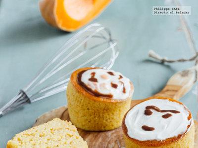Muffins de plátano y calabaza. Receta para Halloween