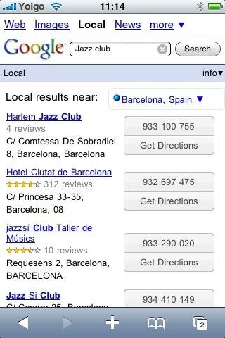 Google en el iPhone realiza búsquedas geolocalizadas