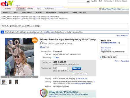 Bocados de realeza: el tocado de la princesa Beatriz ¡ya! en ebay