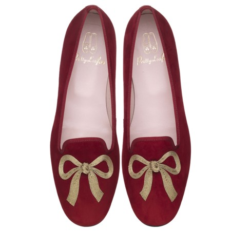Faye Gold Bow Red Suede Pair Pvp 179