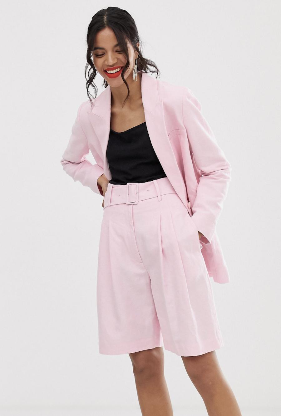 Shorts de sastre rosa de mezcla de lino con cinturón de & Other Stories (parte de un conjunto)