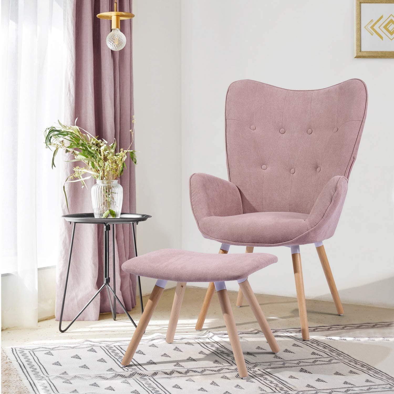 MEUBLE COSY salón con Reposapiés Butaca nórdica sillón Acolchado con Reposabrazos y Patas de Madera, Rosa, 68x73x106cm