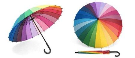 Paraguas arcoiris, múltiples colores