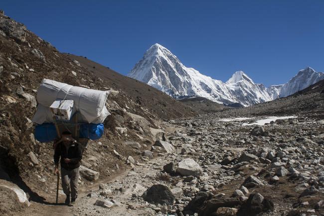 Sherpa Hikes From Dughla Towards Lobuche
