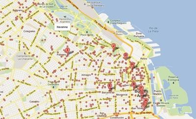 Mapa con los bares de Buenos Aires